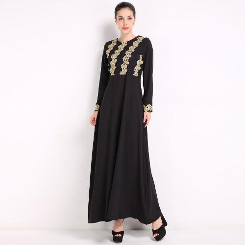Buy Fashion Women Muslim Dress Embroidery Long Sleeve Abaya Kaftan Islamic Arab Robe Maxi Black/Coffee/Blue