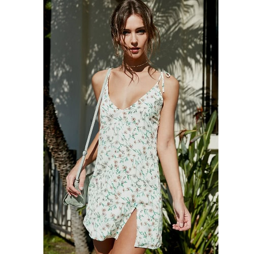 Buy Women Sexy Floral Print Dress Spaghetti Strap V-neck Sleeveless Split Hem Beach White