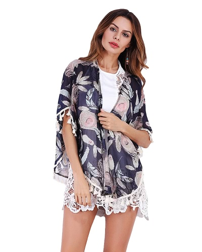 New Women Chiffon Kimono Cardigan Floral Print Fringed Tassels Loose Outerwear от Tomtop.com INT