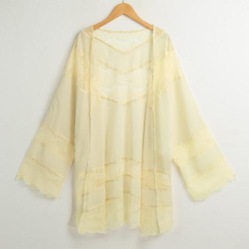 Buy Women Chiffon Kimono Cardigan Floral Lace Boho Loose Outerwear Beachwear Cover Blouse Tops Black/Beige/White