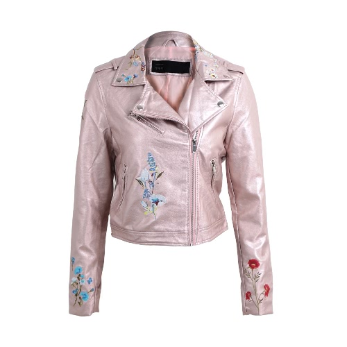 Fashion Women Embroidery Flower PU Faux Leather Jacket Coat