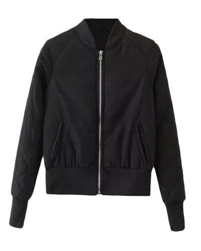 Winter Warm Women Bomber Jacket Zipper Quilted Motorcycle Short Coat Slim Padded Pockets Outerwear