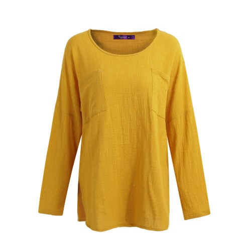 New Korean Women Loose Cotton Casual Long Sleeve Ethnic Vintage Solid T-Shirt Top Tunic Dress