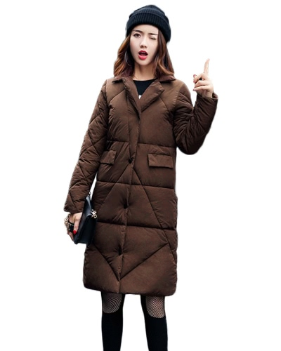 Women Down Padded Jacket Pockets H-Line Winter Warm Coat Solid Long Parka Overcoat Outwear