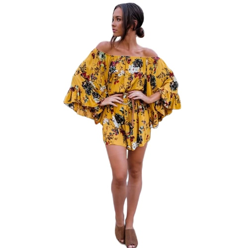 Buy Fashion Women Floral Shoulder Jumpsuit Ruffles Flare Long Sleeve Casual Overall Bohemian Shorts Rompers Yellow without Belt