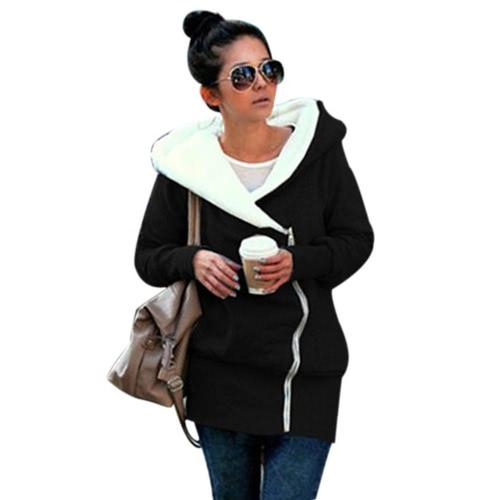 Buy Autumn Winter Women Hoodies Coat Warm Zipper Outerwear Hooded Sweatshirts Casual Long Jacket Plus Size