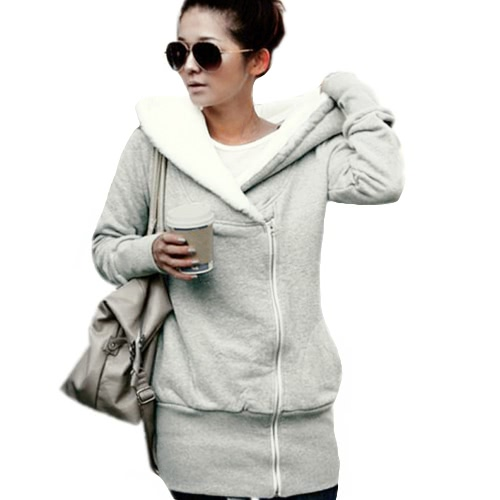 Buy Autumn Winter Women Hoodies Coat Warm Zipper Outerwear Hooded Sweatshirts Casual Long Jacket Plus Size