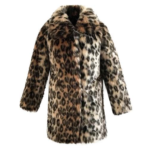 Buy Fashion Women Faux Fur Leopard Coat Long Sleeve Turn-Down Collar Trench Warm Outwear Brown