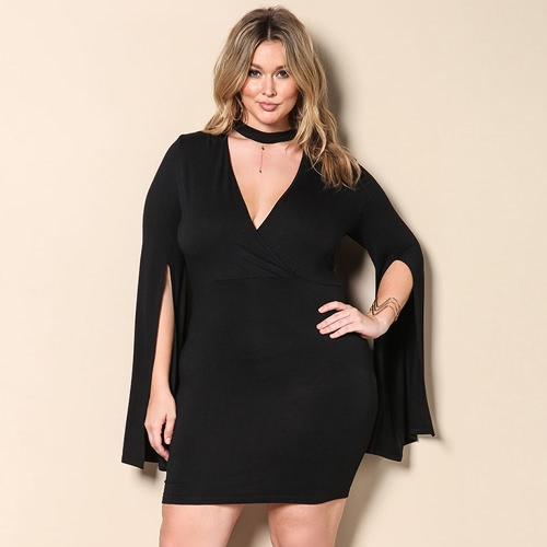 Buy Women Plus Size Mini Dress Cut V-Neck Choker Split Sleeve Bodycon Party Black