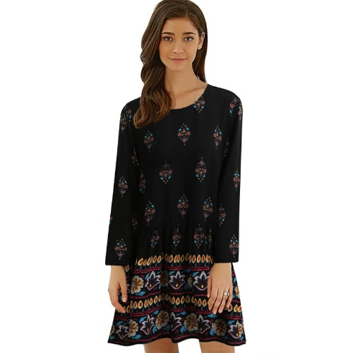 Buy Vintage Women Plus Size Floral Shift Dress Keyhole Back O Neck Long Sleeve Relaxed Boho Black