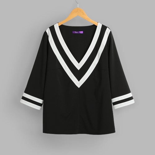 Buy Women Deep V Neck Blouses 3/4 Sleeves Color Block Striped Sexy Loose Casual Shirts Blusas Pullover Top