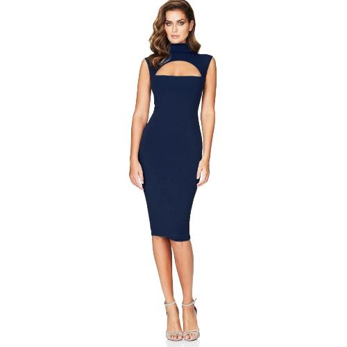 Buy Sexy Hot Women Midi Tank Dress Solid Cut Front High Cowl Neck Sleeveless Bandage Bodycon Nightclub One-Piece