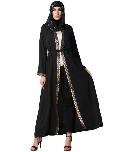 Buy Vintage Women Arabia Middle East Long Muslim Trench Coat Plus Size Retro Spliced Sleeve Maxi Robe Black