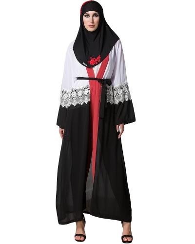 Women Chiffon Muslim Abaya Cardigan Lace Long Sleeve Open Front Robe Belted Kaftan Islamic Arab Maxi Dress Black