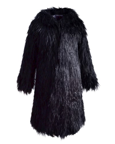 Buy Women Faux Fur Jacket Solid Color Hooded Long Sleeve Fluffy Hairy Warm Winter Slim Outerwear