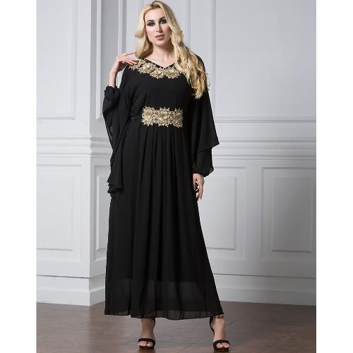 Buy Women Muslim Maxi Dress Embroidery Long Sleeve Abaya Kaftan Islamic Arab Robe Chiffon Black/Green