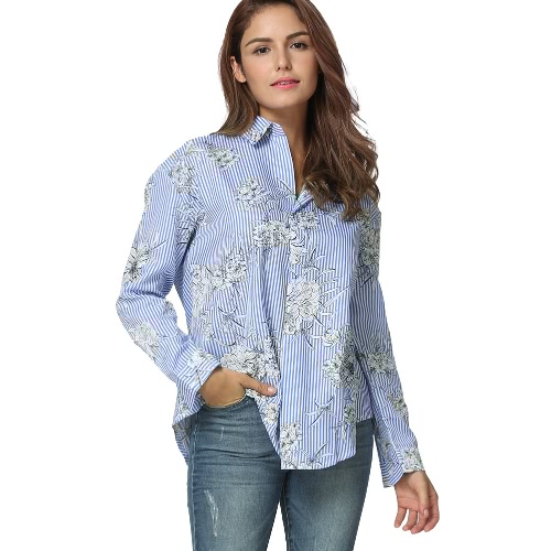 Buy Women Plus Size Blouse Striped Floral Print Turn Collar Long Sleeve Oversized Casual Tops Shirt Blue