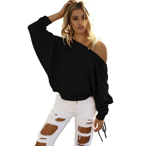 Buy Women Knitted Sweater Shoulder Pullover Jumper Drawstring Long Sleeve Casual Loose Knitwear Tops