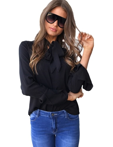 Buy Fashion Women Casual Shirt Blouse V Neck Flare Long Sleeve Bandage Tie Solid Elegant Loose Tops