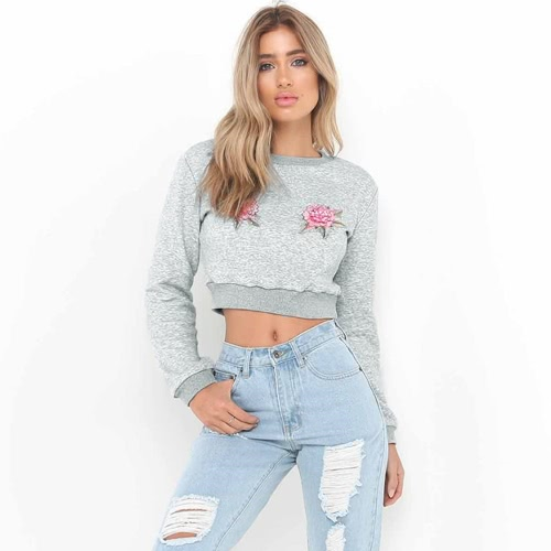 Buy Women Cropped Hoodie Sweatershirt Pullover Floral Embroidered Applique Long Sleeves Crop Tops Outwear