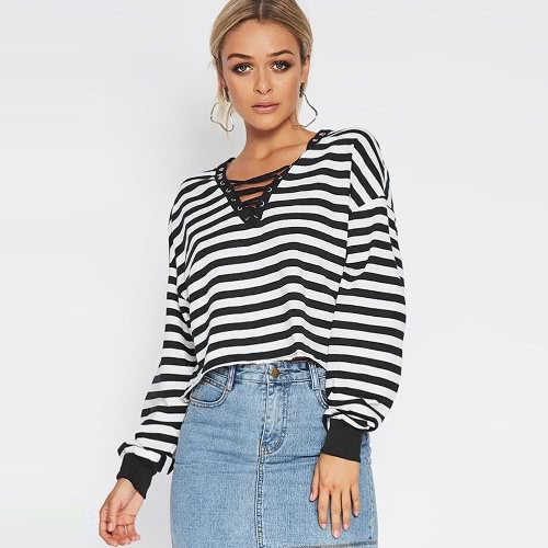 Buy Women Cropped Striped T-Shirt Long Sleeves Lace V Neck Dropped Shoulder Casual Loose Tees Tops Black