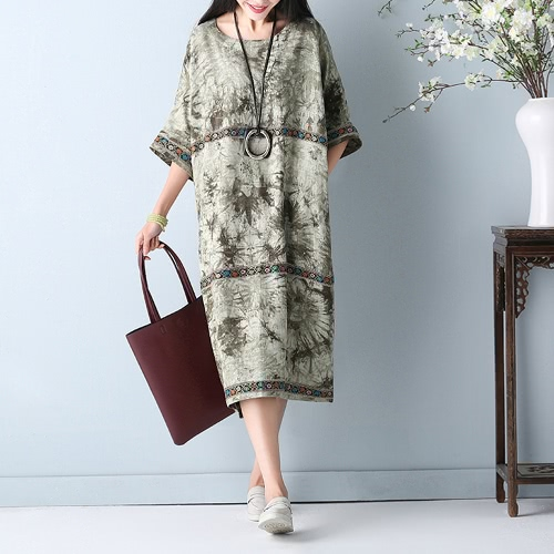 Buy Plus Size Women Cotton Linen Dress Embroidery O-Neck Half Sleeve Pockets Retro Loose Midi Red/Green