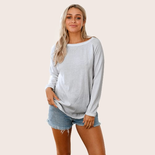 Women Backless Long Sleeves Pullover Sweater Cut Out Open Back Raglan Loose Knit Top