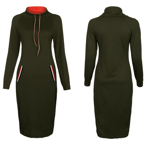 Autumn Winter Women Hoody Dress High Neck Long Sleeves Solid Warm Slim Bodycon Midi Dress