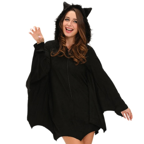 Buy Women Halloween Bat Costume Dress Hooded Zipper Long Sleeves Role Play Sexy Adult Mini Black