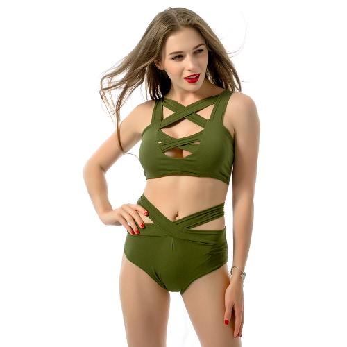 Buy Sexy Women Bikini Set Cut Front Deep V-Neck Sleeveless High Waist Bottom Bathing Suit Red/Green