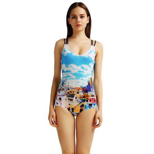Buy Fashion Women One-Piece Swimwear Landscape Animal Print O-Neck Criss Cross Backless Swimsuit Bathing Suit