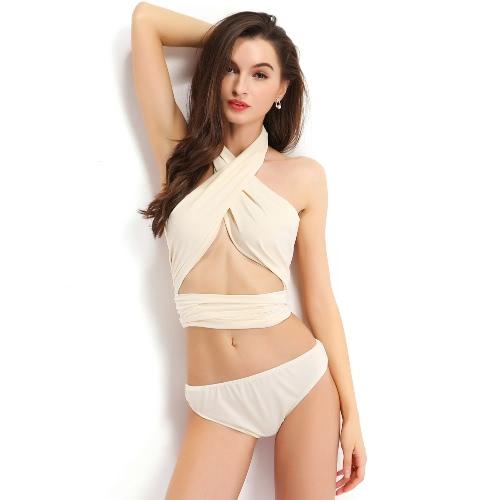 Buy Hot Summer Women Two-piece Bikini Set Halter Criss Cross Elastic Waist Backless Beach Bandage Strappy Swimwear Swimsuit