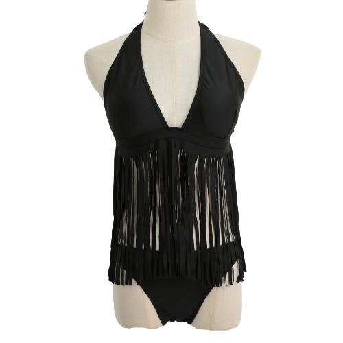 New Fashion Women Bikini Set Solid Halter Neckline Tassel Fringe Push Up Padding Sexy Swimsuit Black