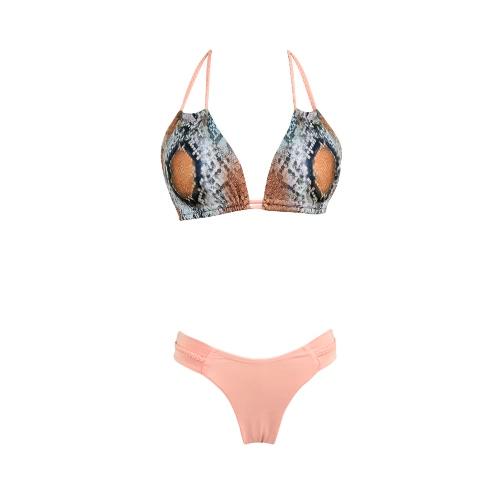 Women Bikini Set Swimwear Swimsuit Snake Skin Pattern Halter Neck Adjustable Cups Two-Piece Bathing Suit Pink
