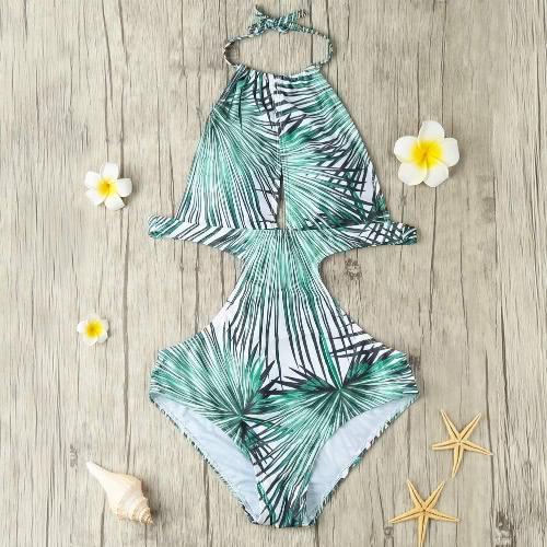New Sexy Women One Piece Swimsuit Swimwear Cut Out Leaf Print Tie Halter Bathing Suit Beachwear Monokini