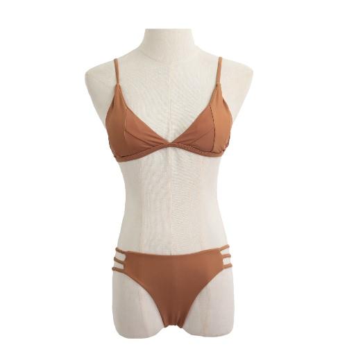 Sexy Women Bikini Set Solid Color Patches Padded Top Bandage Bottom Beach Swimwear Swimsuit Bathing Suit Khaki