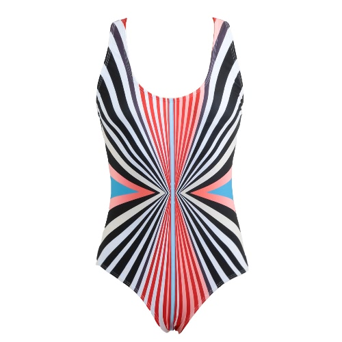 Women One Piece Swimsuit Colorful Striped Print Padded Push Up Backless Crossover Sexy Retro Swimwear Black