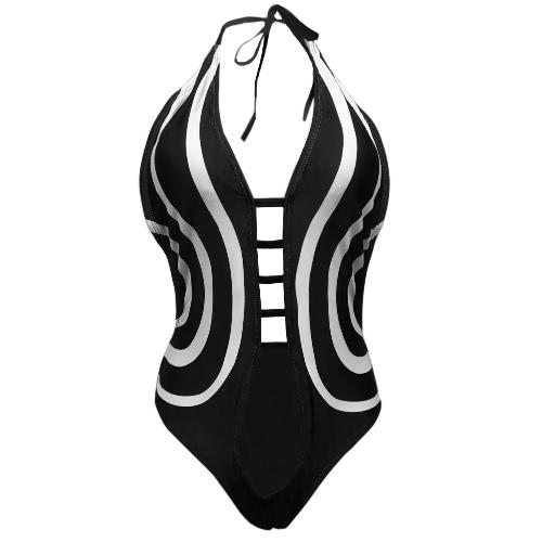 Sexy Women One Piece Swimsuit Vintage Print Bathing Suit Bodysuit Swimwear Beach Wear Monokini Black