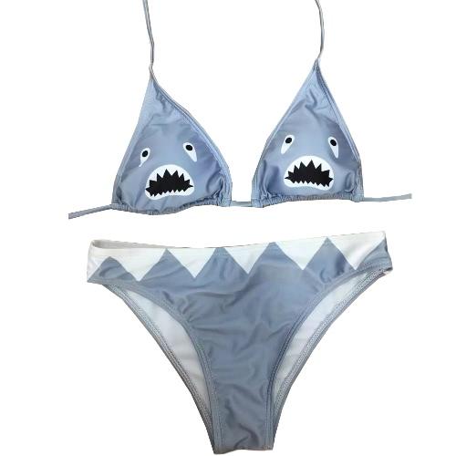 Sexy Women Triangle Bikini Set Shark Print Swimsuit Low Waist Swimwear Padded Beach Bathing Suit Grey