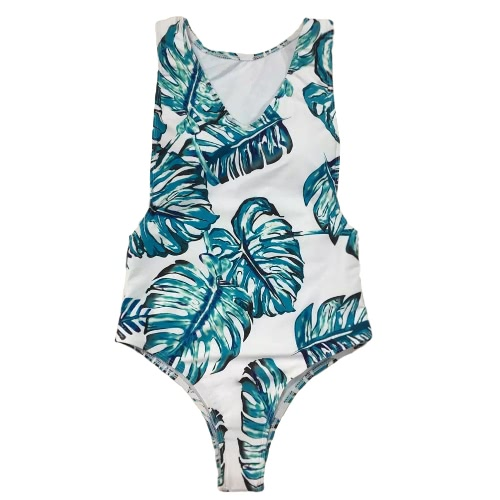 New Sexy Women One-piece Swimsuit Tropical Leaves Print Plunge V Neck Beach Swimwear Bathing Suit Blue