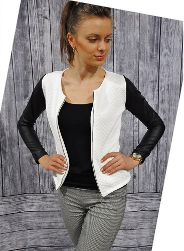 Chic Women Plaid PU Patchwork Long Sleeve O Neck Jacket Outwear Coat