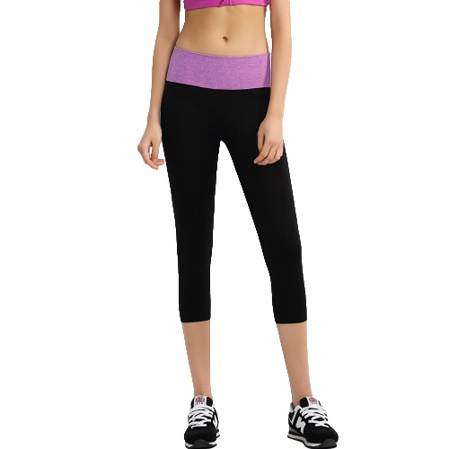 New Fashion Women Cropped Yoga Pants Contrast Elastic Waist Sports Fitness Trousers Running Capri Leggings