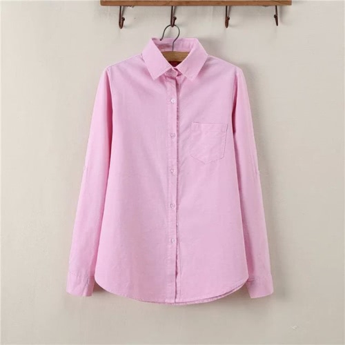 New Fashion Women Shirt Solid Point Collar Long Sleeve Chest Pocket Casual Spring Autumn Blouse от Tomtop.com INT