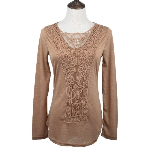 Buy Fashion Women T-shirt Crochet Lace Panel Round Neck Long Sleeve Slim Fit Solid Casual Blouse Green/White/Khaki