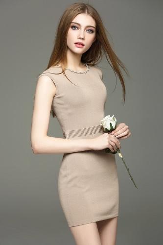 Buy Elegant Beading Round Neck Sleeveless Bodycon Mini Knitted Dress Women
