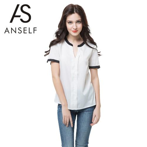 Buy Anself Fashion Contrast V Neck Split Short Sleeve Women's Chiffon White Blouse