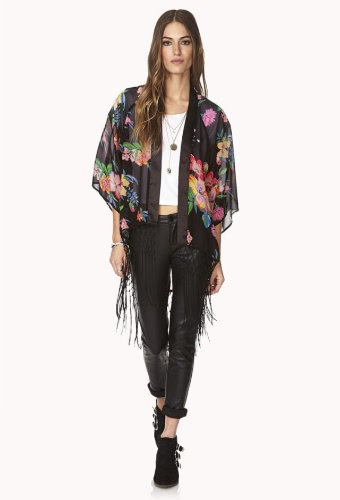 Buy Vintage Floral Print Tassel Sheer Black Chiffon Kimono Women