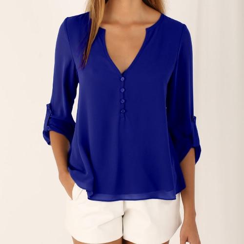 Buy Fashion V Neck Buttoned Back High Low Asymmetric Long Sleeve Fall Chiffon Blouse Women