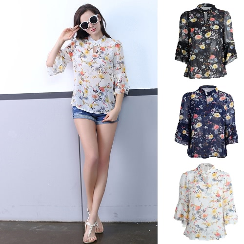 Fashion Women Chiffon Blouse Flower Print Cut Out Front Stand Collar Flare Sleeves Sexy Loose Top от Tomtop.com INT