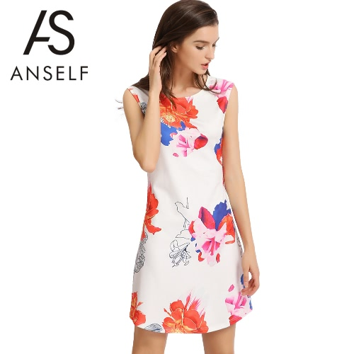 Buy Elegant Floral Print Round Neck Sleeveless Back Zipper Women's A-Line Mini Dress